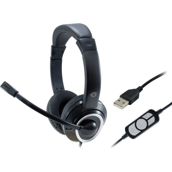 CONCEPTRONIC Headset USB    2m Kabel,Mikro,Fernb. Stereo  sw
